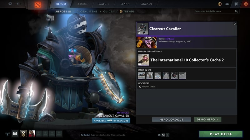 items set dota2 mới clearcut cavalier
