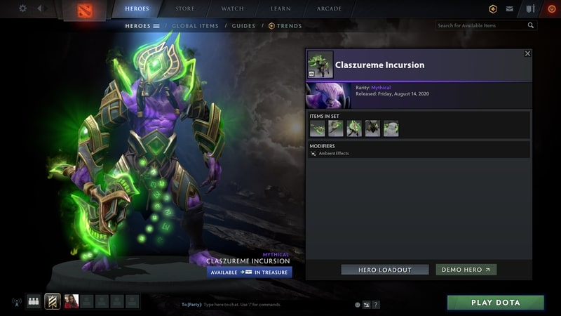 items set dota2 mới claszureme incursion