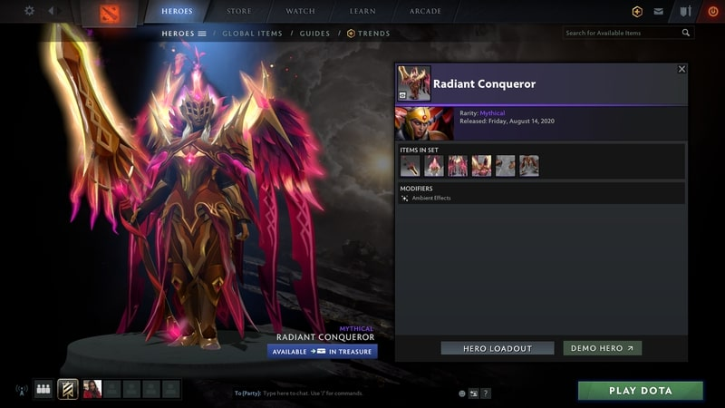 items set dota2 mới radiant conqueror