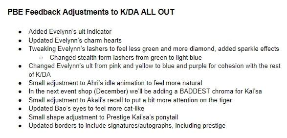 Một số chỉnh sửa của Riot Games lên skin KDA 2020